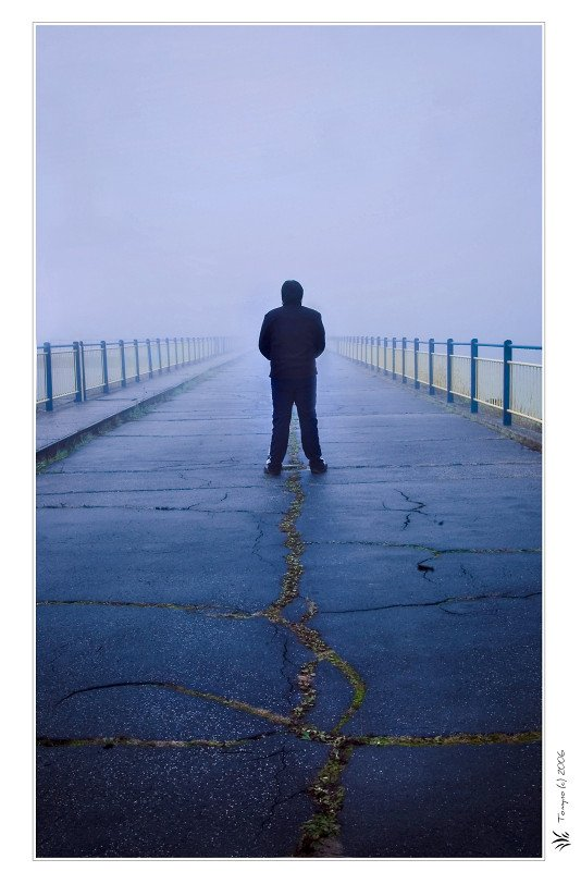 Emptiness - Man on Middle of Empty Pier