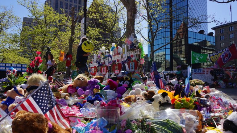 Marathon bombing memorial at Copley Square,