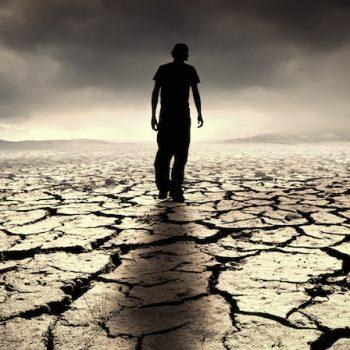 Lonely Man in Desert