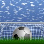 soccer ball in fron of goal