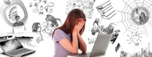 Woman frazzled by multitasking
